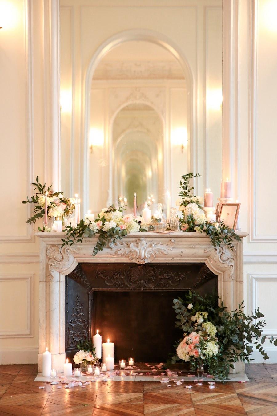 décoration mariage rose gold cheminée